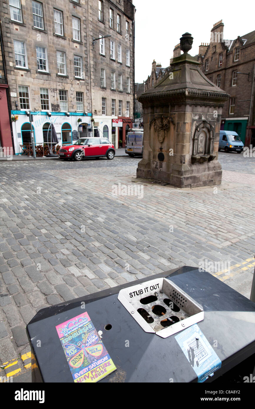 Edinburgh, Scotland, Situated in the Grassmarket area street with upmarket shops on cobbled road detail of stub - Stock Image