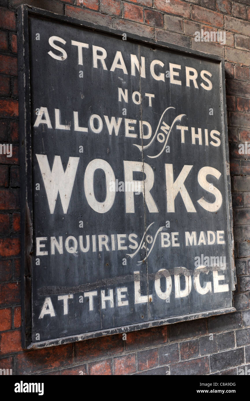 Old trespass warning sign at Middleport pottery works Burgess Dorling & Leigh Ltd Burleigh at Burslem Stoke - Stock Image