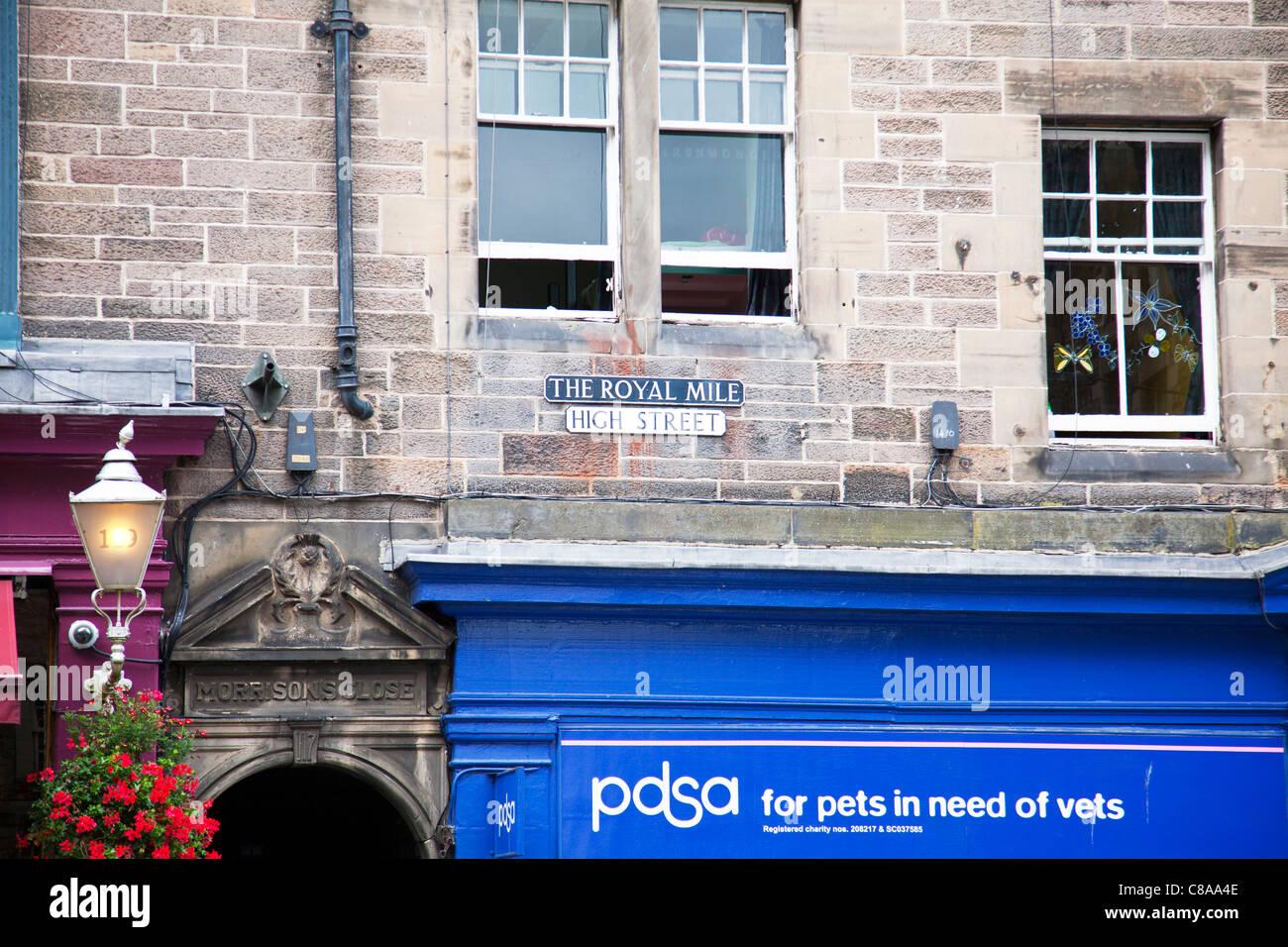 Edinburgh, Scotland, The Royal Mile High Street, PDSA pets in need of vets shop sign - Stock Image