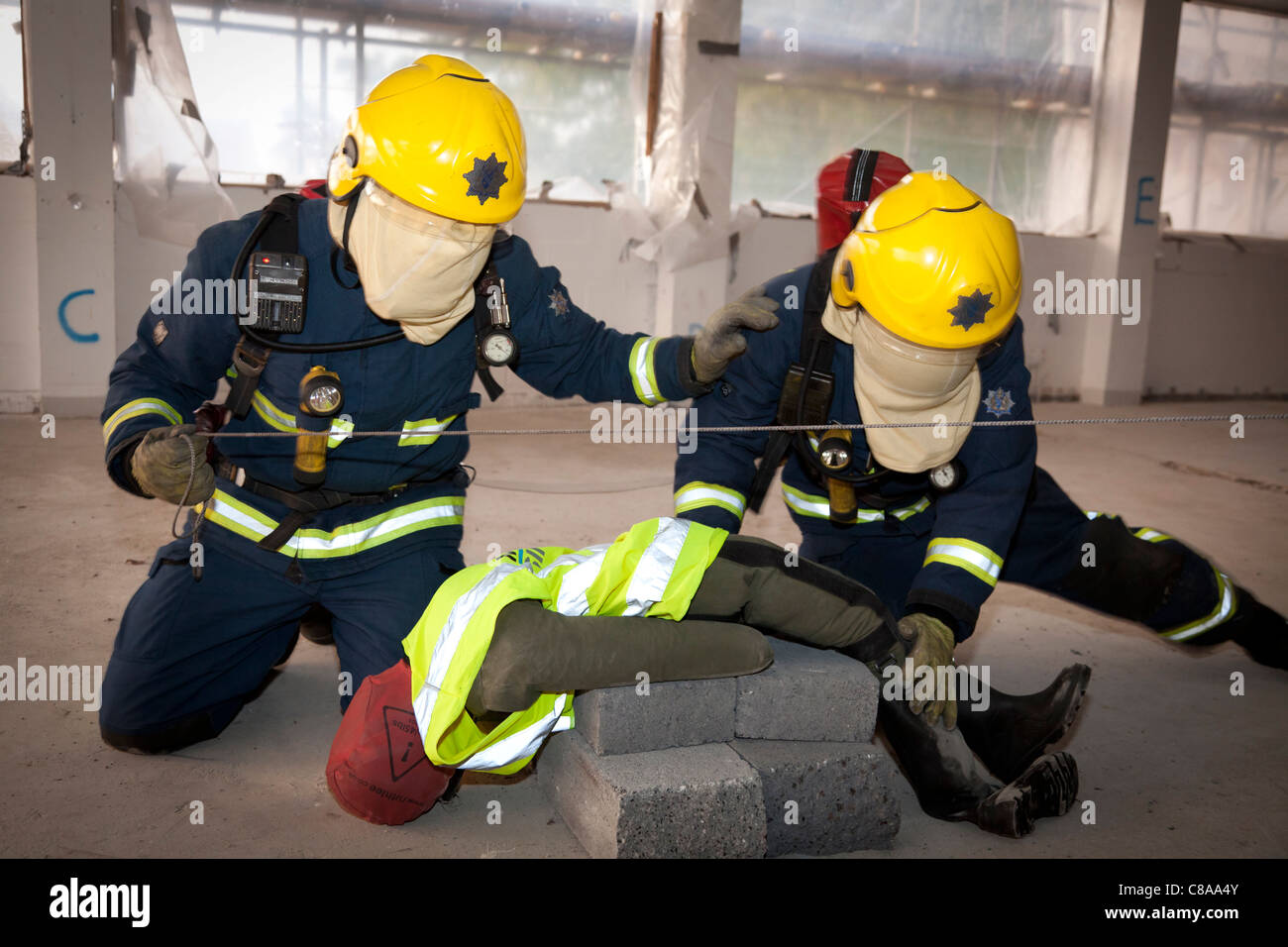 Fire Brigade exercise at Abingdon & Witney College site - Stock Image
