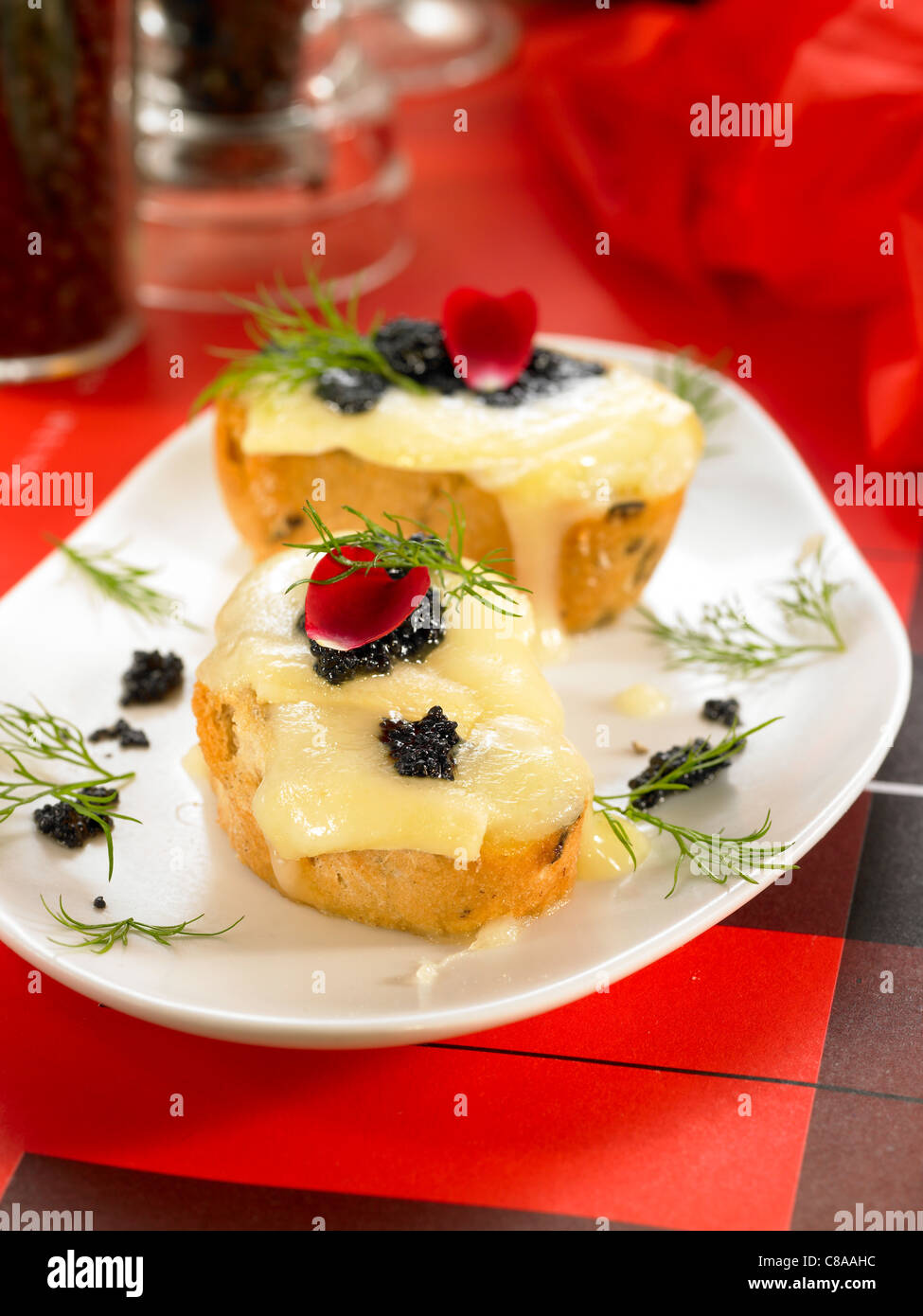 Camembert and caviar open sandwich - Stock Image
