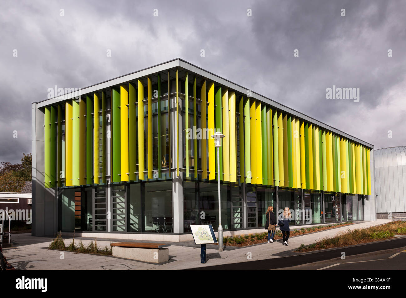 Royal Holloway University Moore Building external showing multi coloured louvres - Stock Image