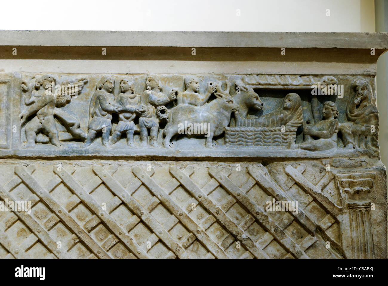 deatil of the Paleo-christian sarcophagus (350 a.d.) in the church of San Pietro Ispano - Boville Ernica, Frosinone, Stock Photo