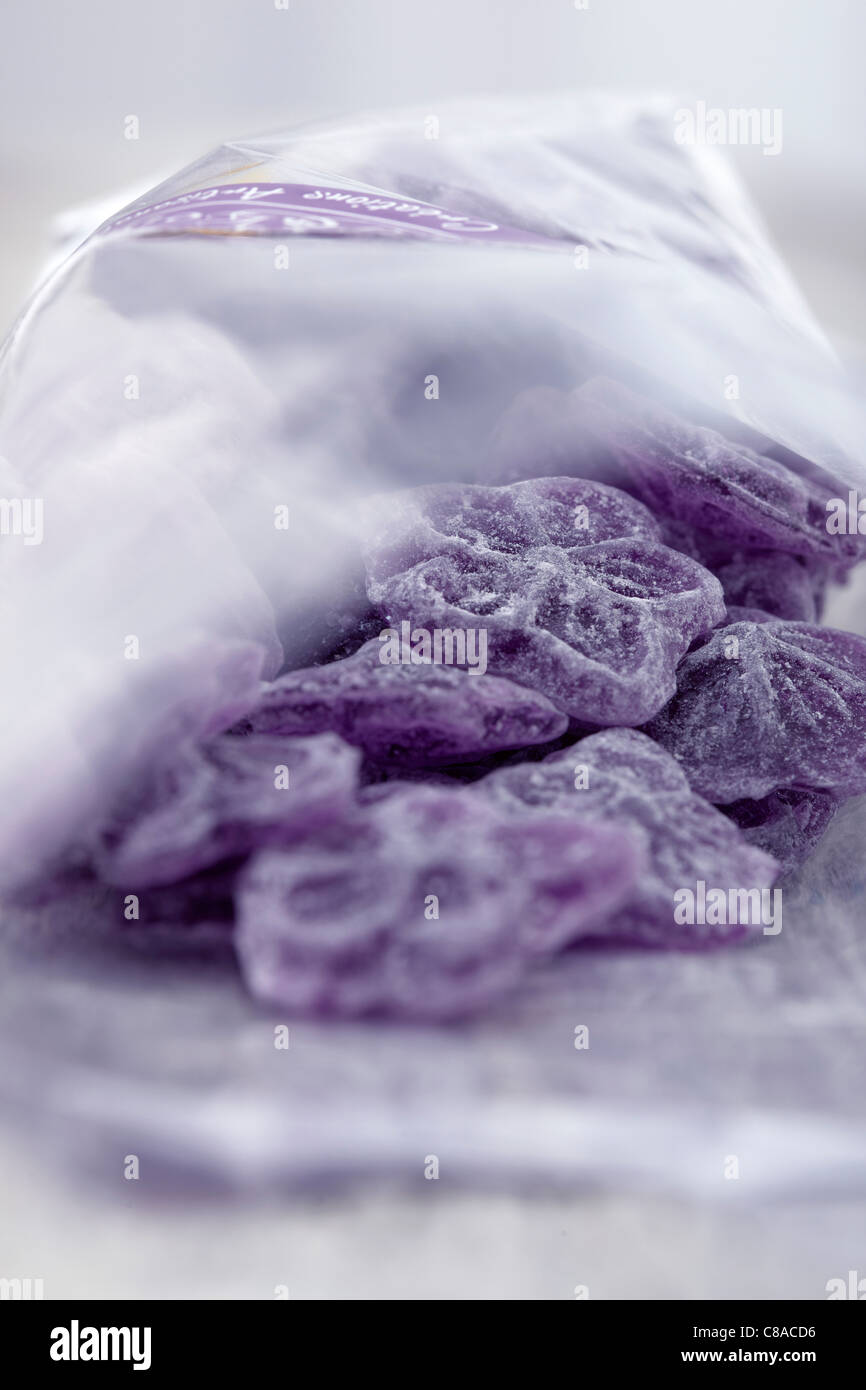 Violet candies from Toulouse - Stock Image