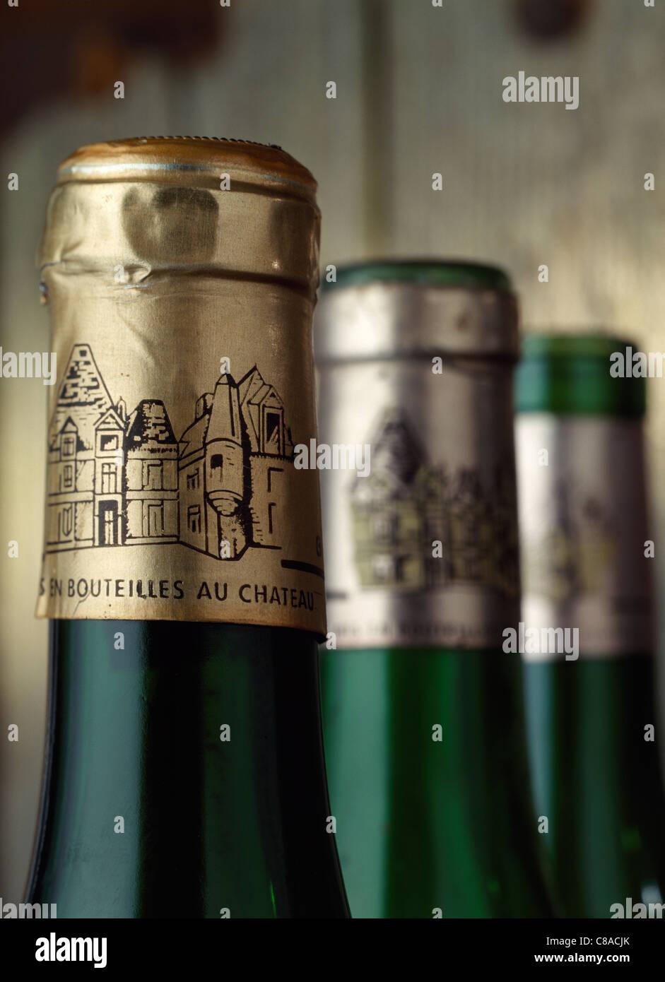 Wine bottle necks Stock Photo