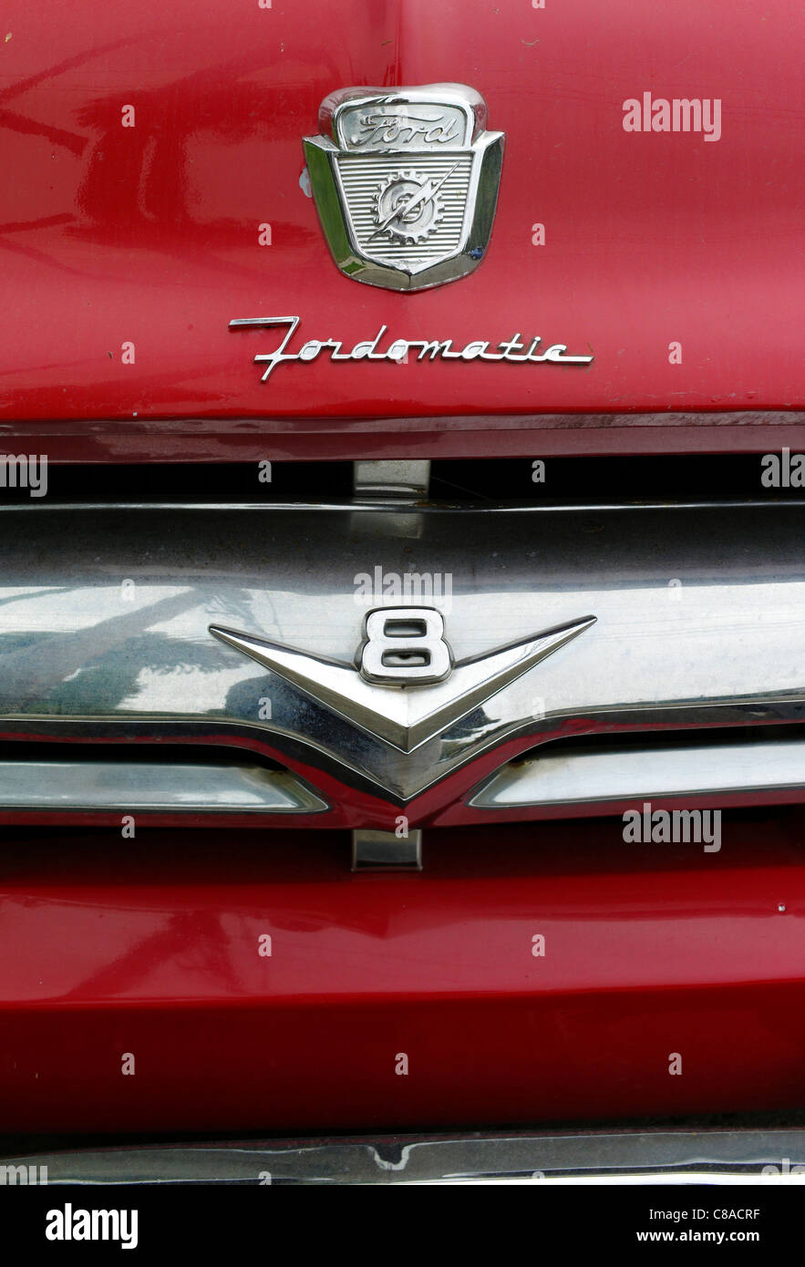 V8 Red Ford Truck Fordomatic Grill Chrome Lights Bumper Old Antique