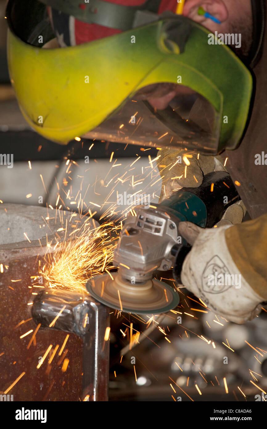 grinding metal - Stock Image