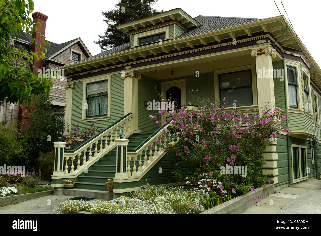 Victorian home architecture 19th century Alameda gables style 19th century Queen Victoria Anne Georgian Regency - Stock Image