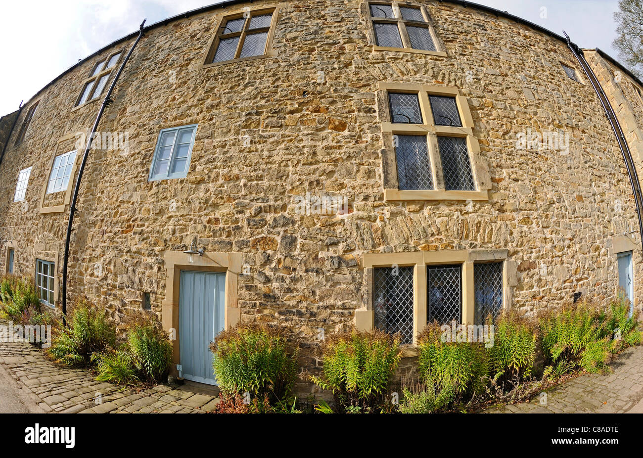 Elizabethan stone built manor and farm houses renovated into holiday homes. Stock Photo