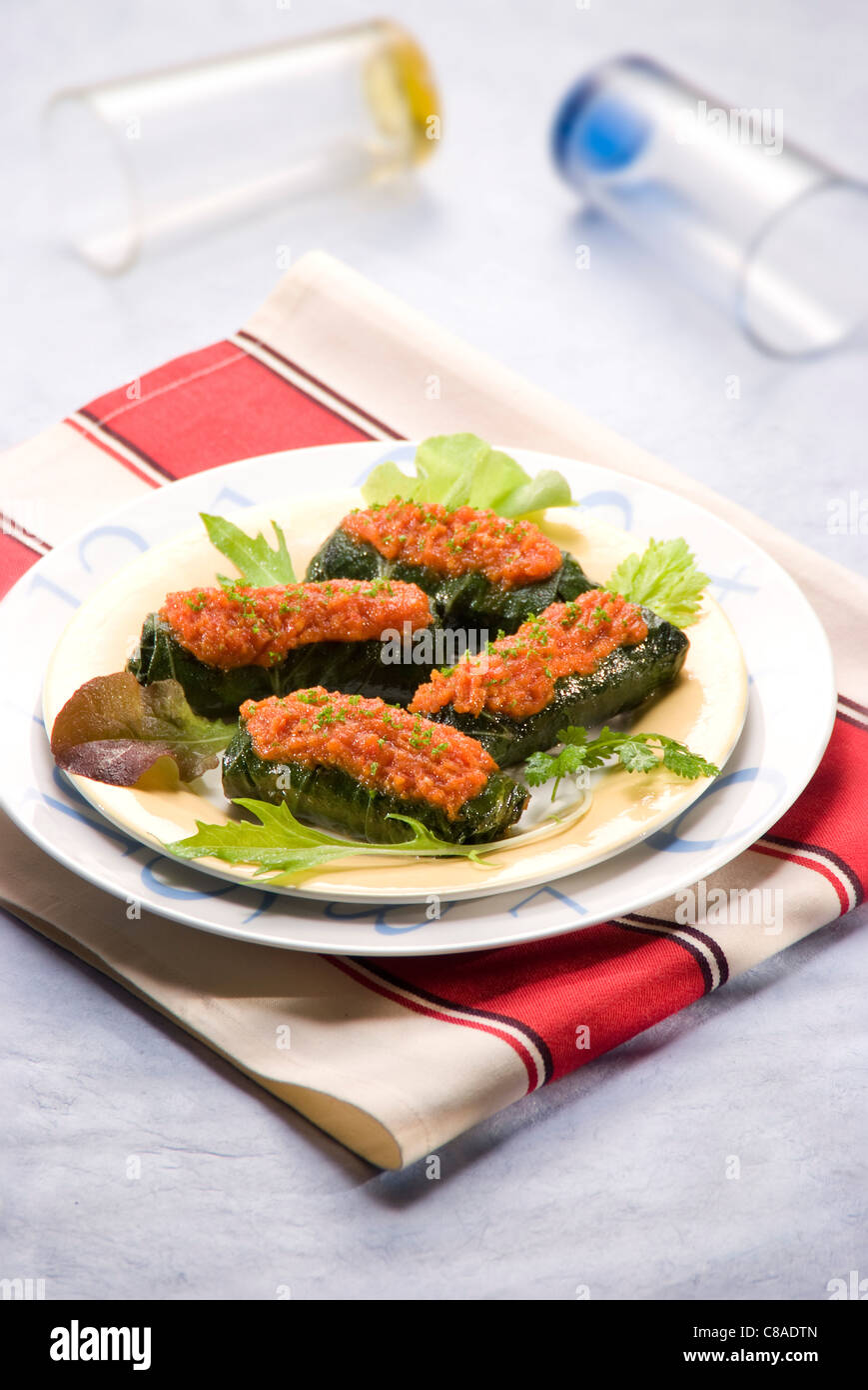 Small bundles of stuffed beets without gluten - Stock Image