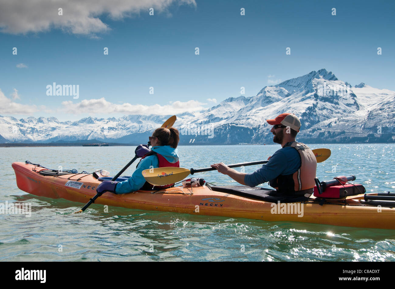 Kayaking around the harbor, Valdez, Alaska. - Stock Image