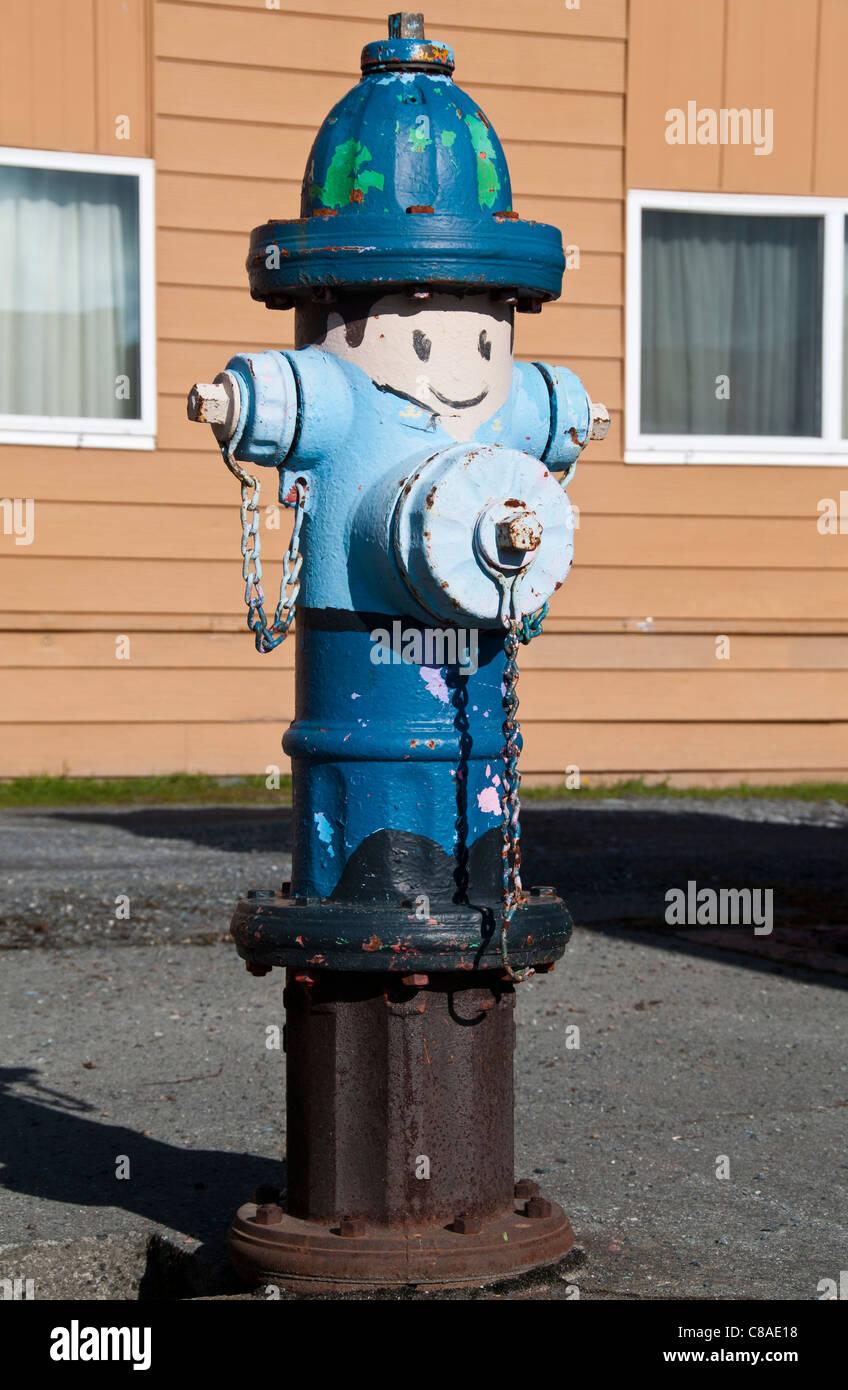 Painted fire hydrant, Valdez, Alaska. - Stock Image