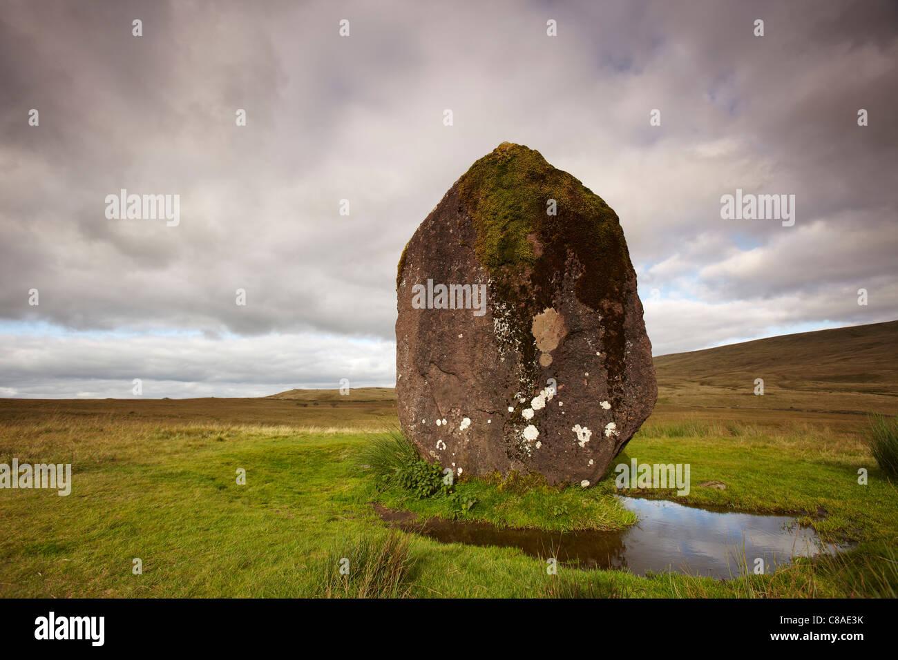 Maen Llia Neolithic Standing Stone, Ystradgynlais, Swansea Valley, Wales, UK - Stock Image