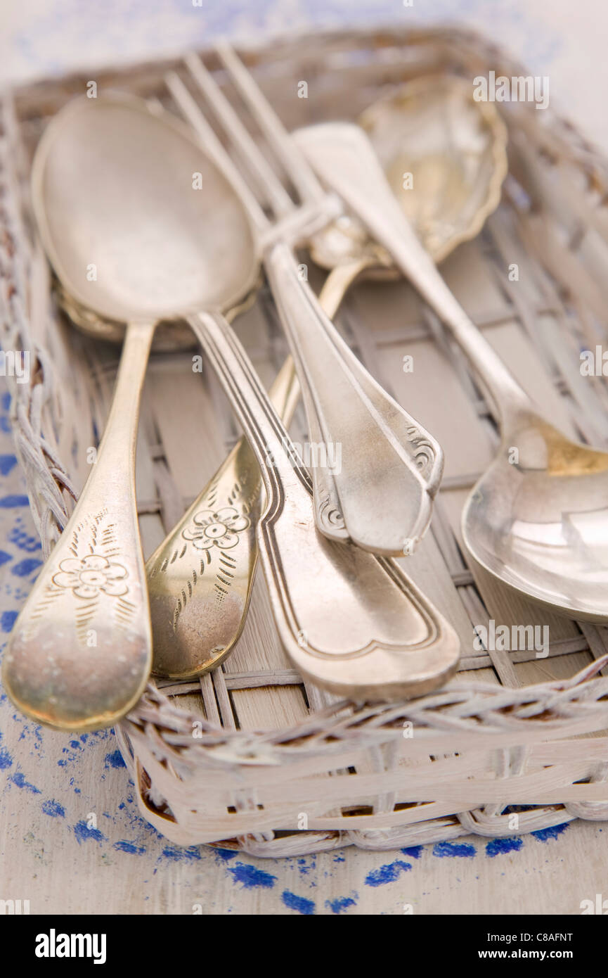 Silver cutlery - Stock Image