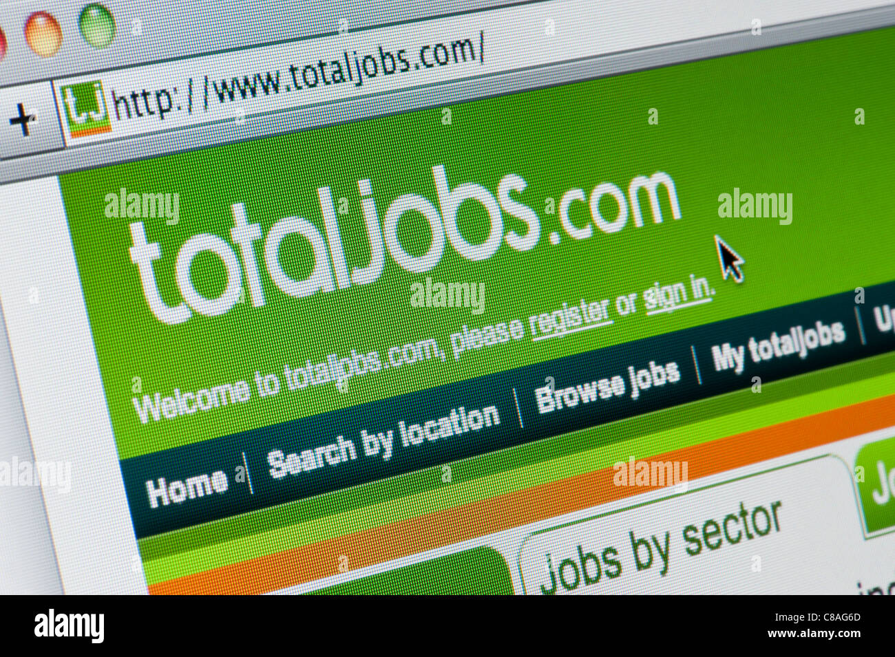 Close up of the Total Jobs logo as seen on its website. (Editorial use only: ­print, TV, e-book and editorial - Stock Image