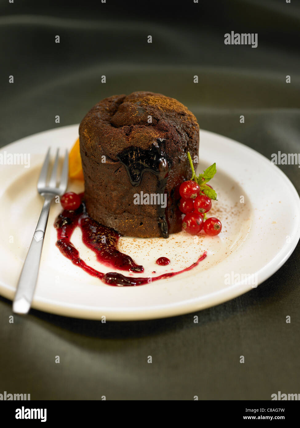 Individual runny chocolate cake - Stock Image