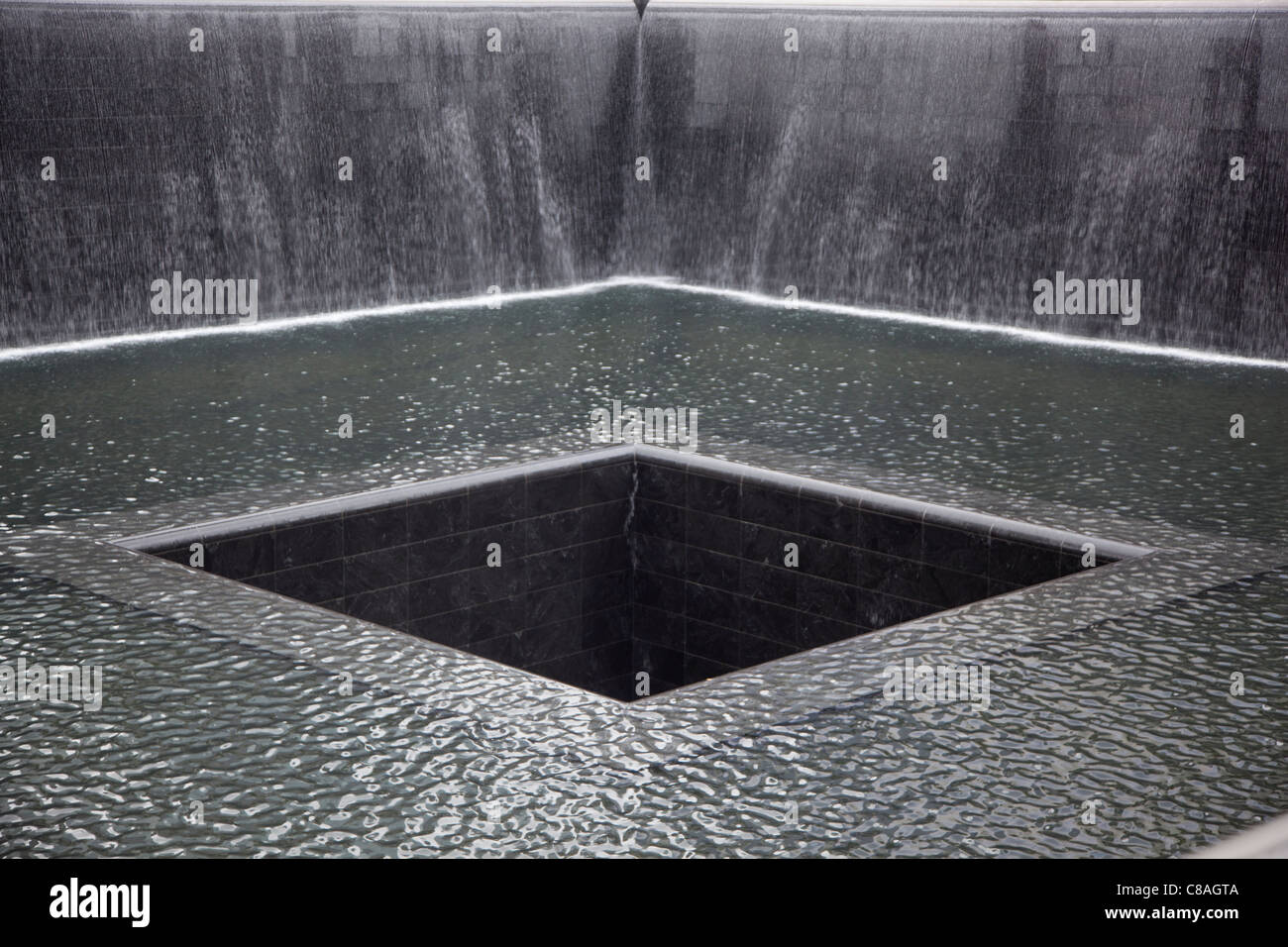 Memorial pool at the 9/11 Memorial at the World Trade Center. - Stock Image