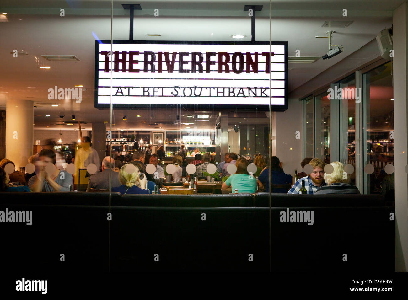 The Riverfront bar of the British Film Institute on the South Bank of  the Thames. London. - Stock Image