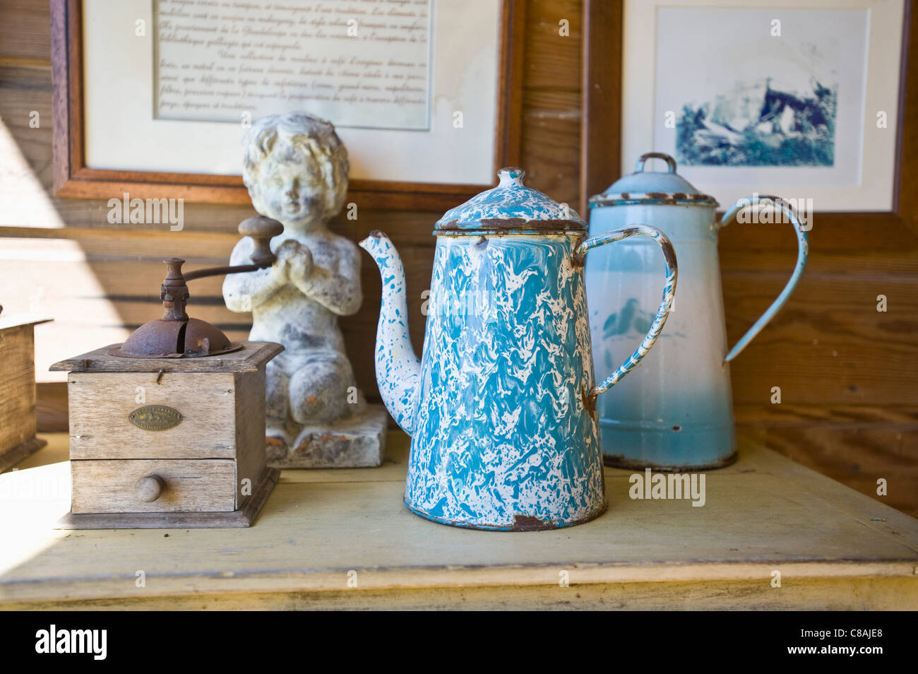 Coffee mill and enameled coffee pots - Stock Image
