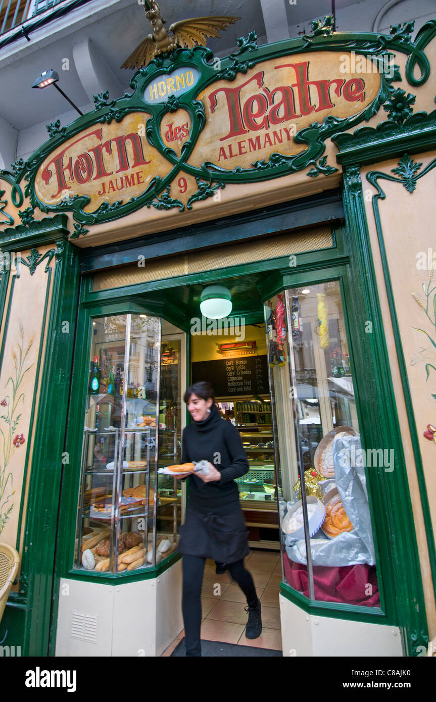 Forn des Teatre renowned traditional style cafe and bakery in Palma de Mallorca Balearic Islands Spain - Stock Image