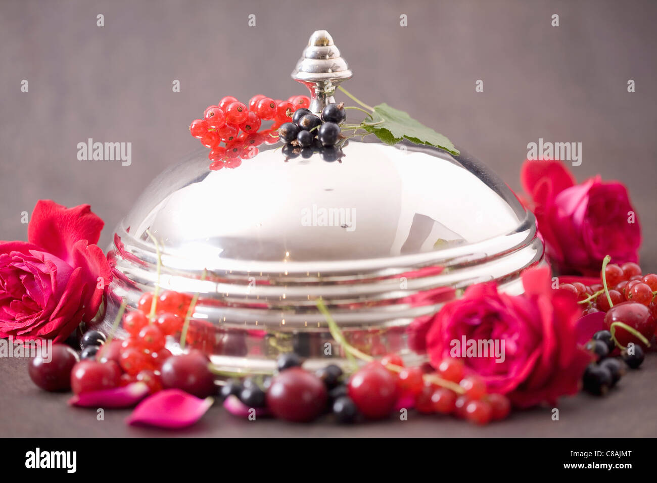 Metal dome,summer fruit and roses - Stock Image