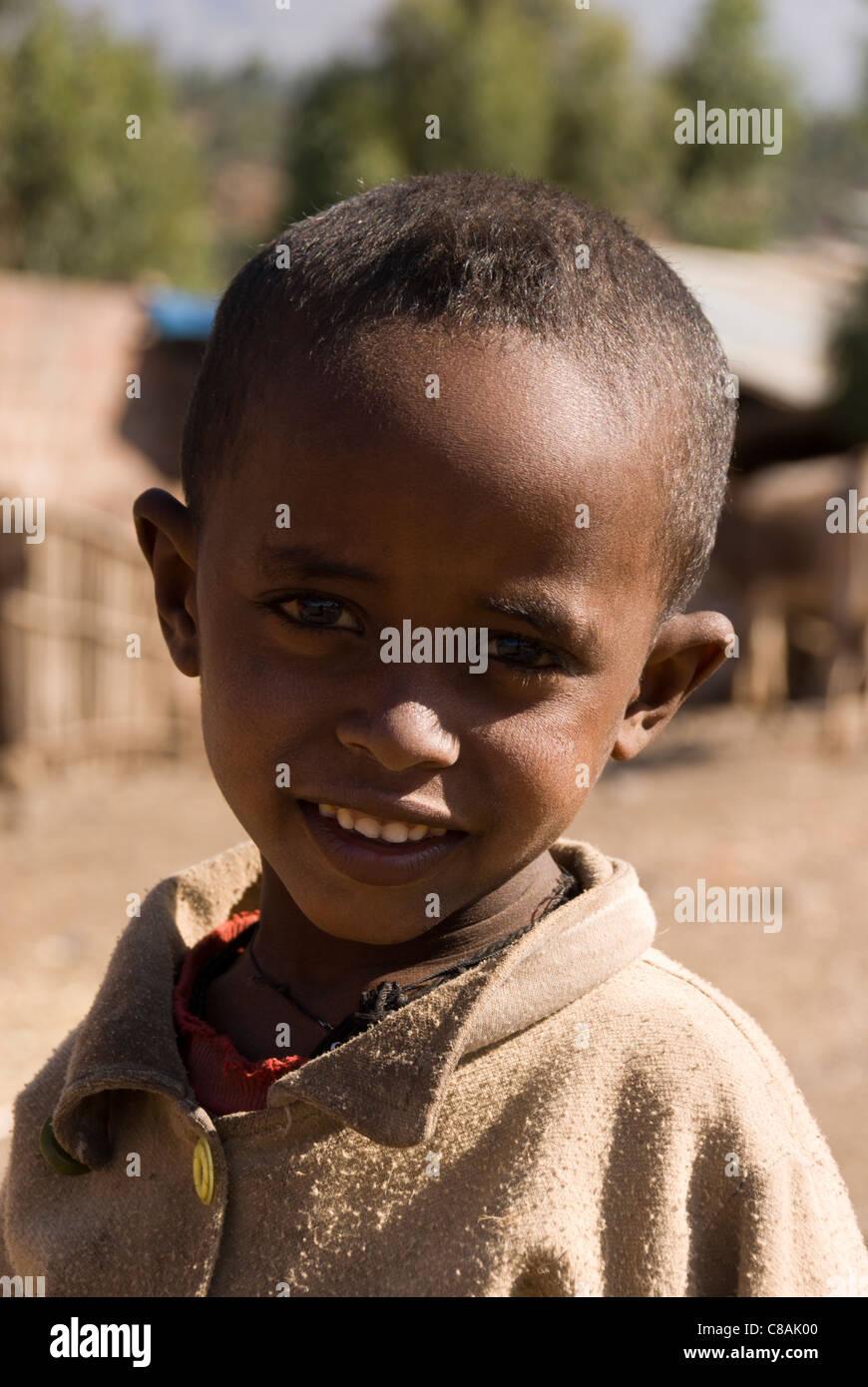 Elk200-3035v Ethiopia, Lalibela, portrait of Ethiopian boy - Stock Image