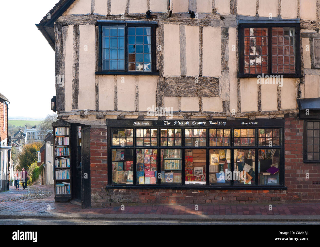 Historic 15th Century antiquarian book shop in Lewes high street East Sussex UK - Stock Image