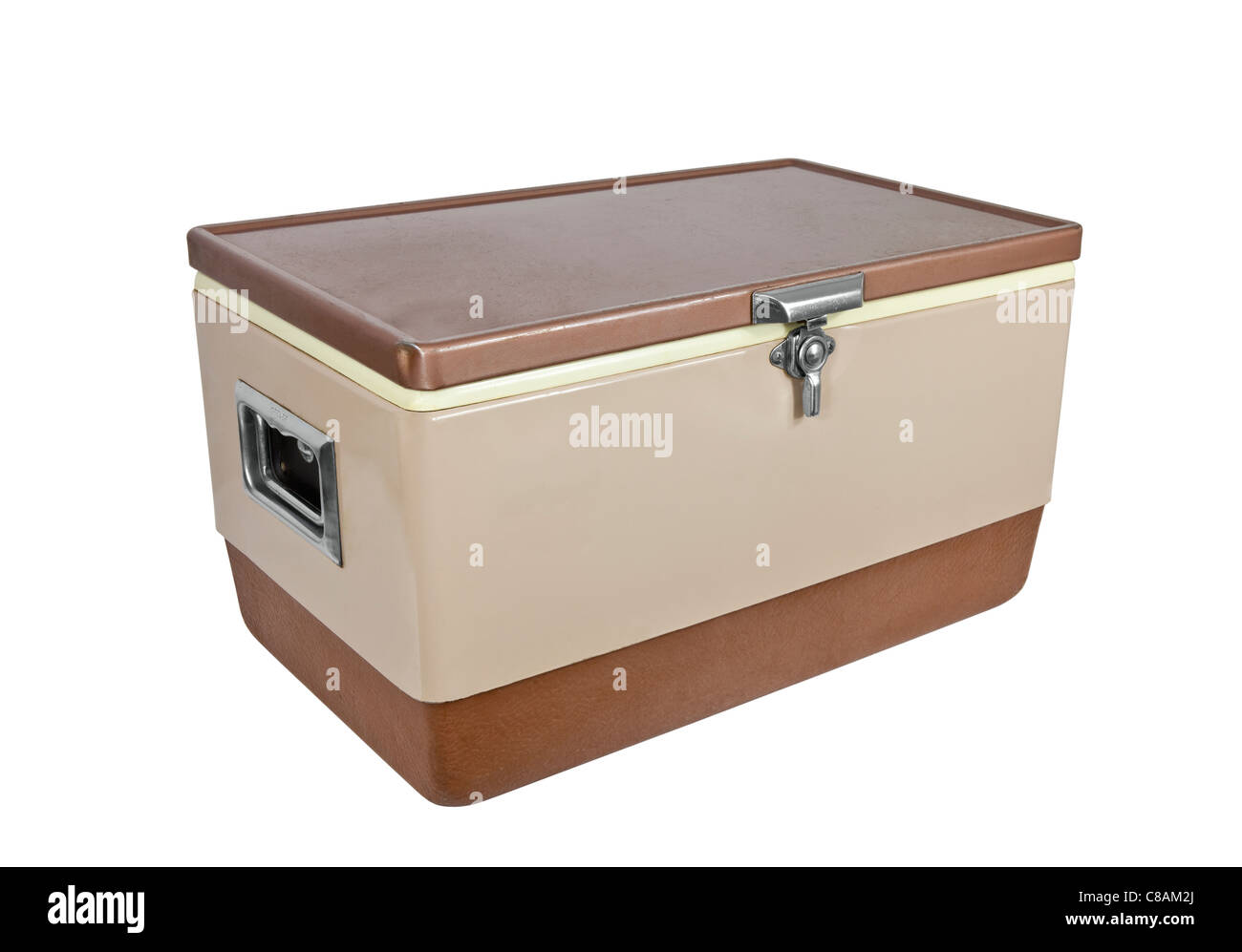 Vintage ice chest cooler from the 1970's isolated on white. - Stock Image