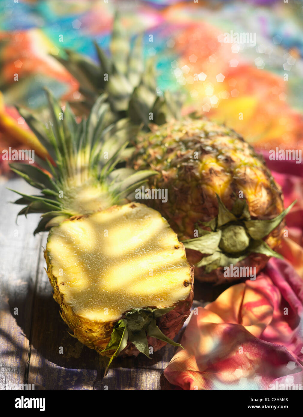 Pineapple cut in half - Stock Image