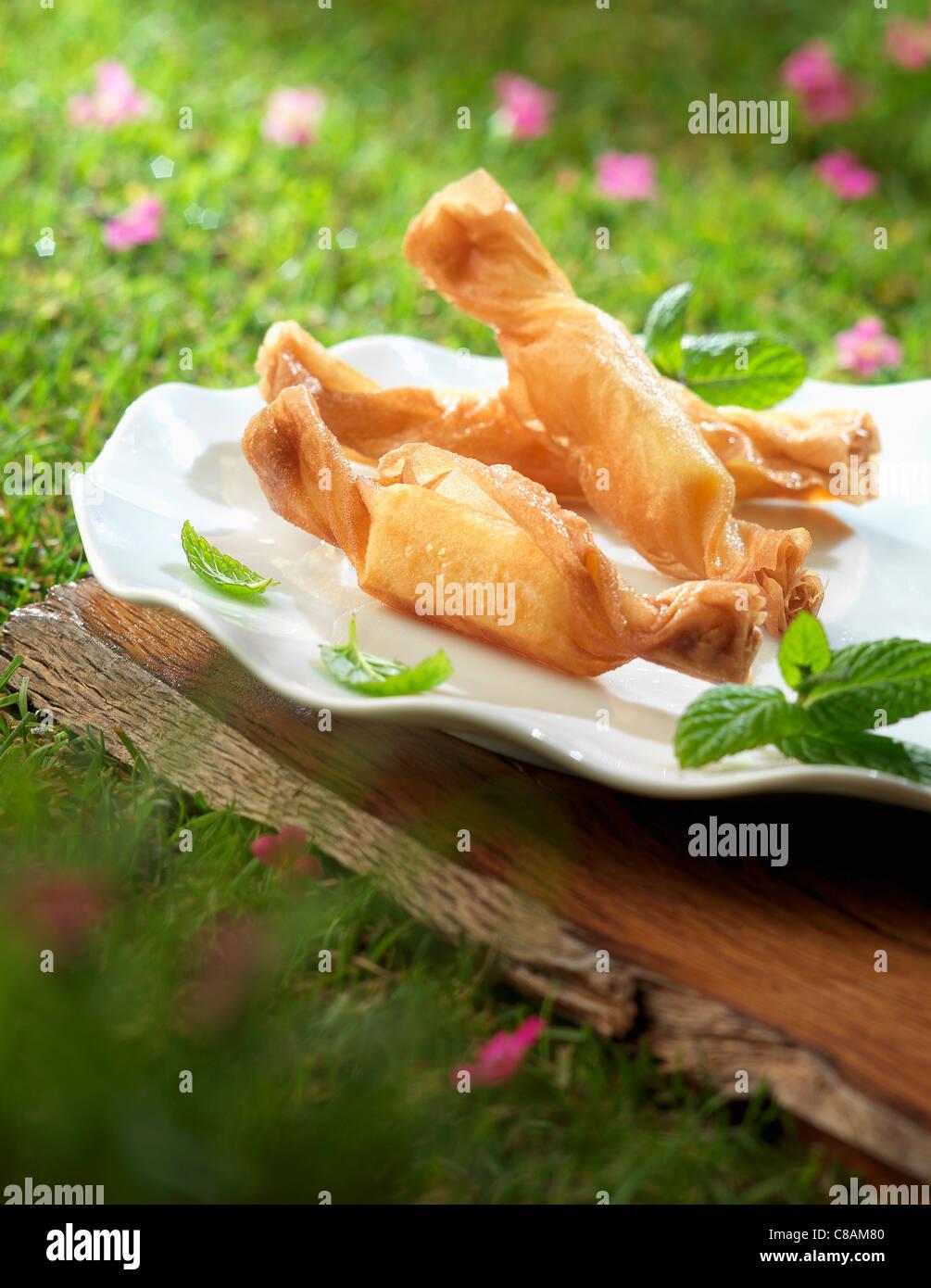 Crisp cheese candies - Stock Image