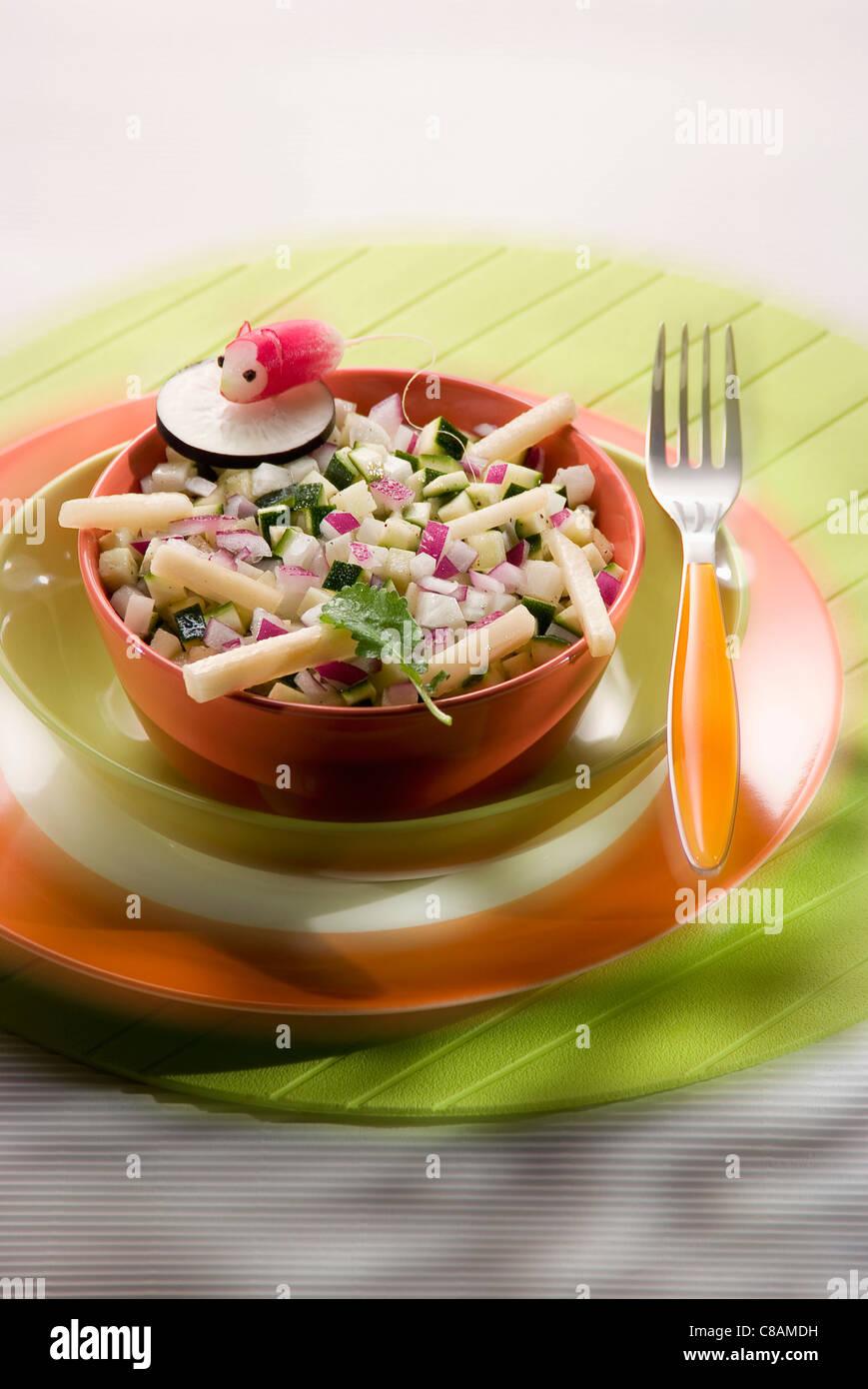 Raw winter vegetable salad - Stock Image
