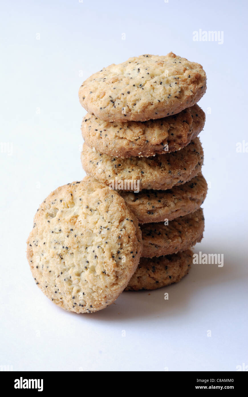 Poppyseed and sesame seed shortbread biscuits - Stock Image