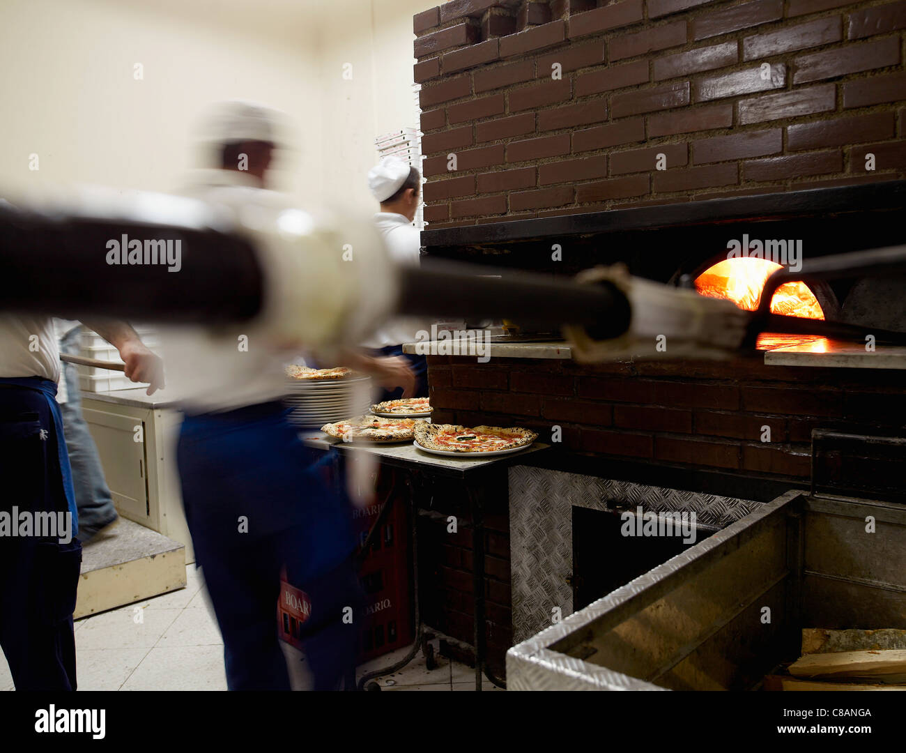 Cooking at The Da Michele Pizzeria - Stock Image