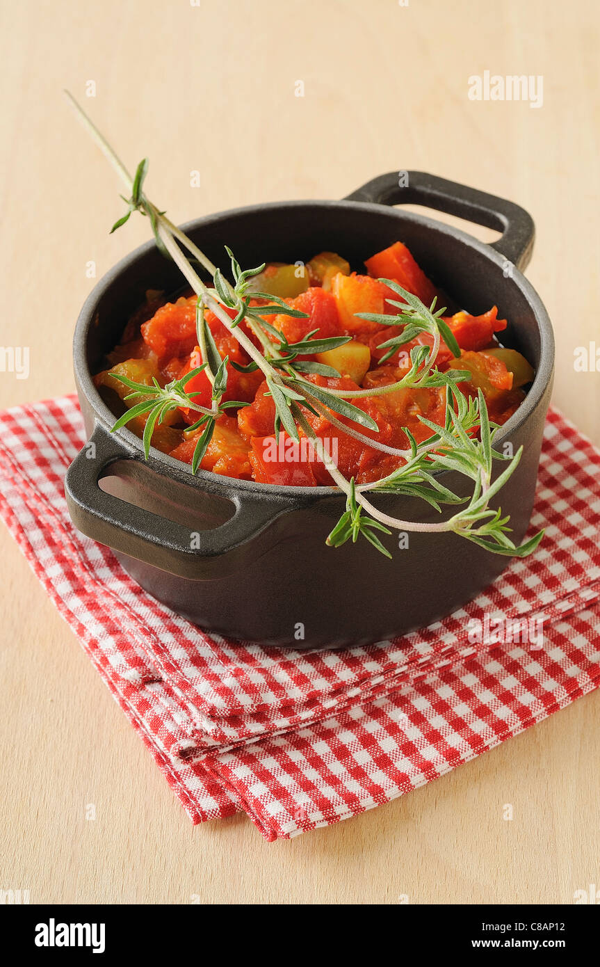 Stewed vegetables with savory Stock Photo