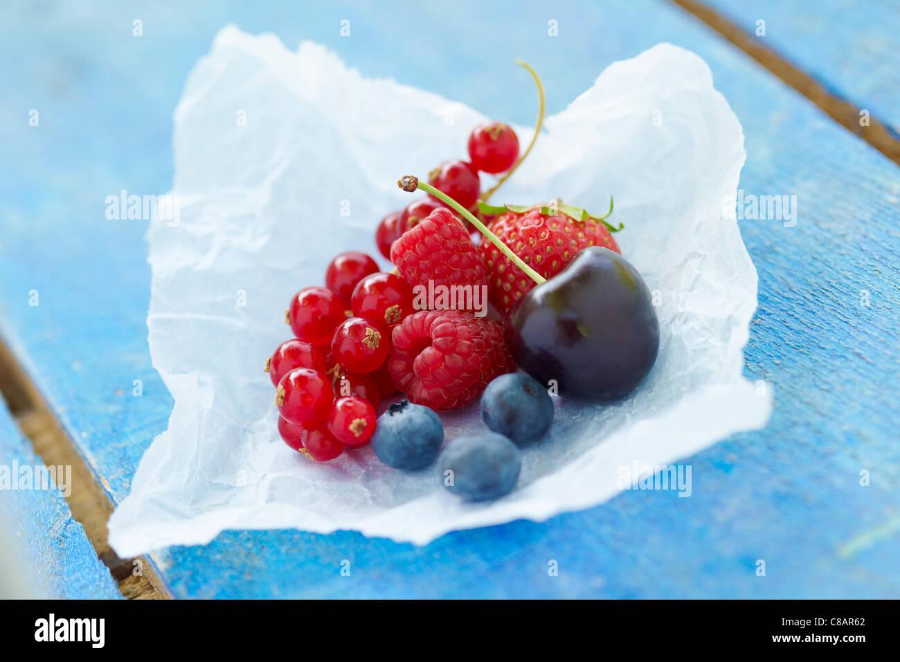 Assorted summer fruit - Stock Image