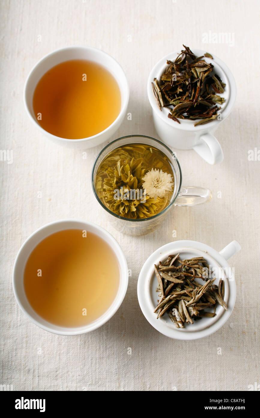 Assorted white teas - Stock Image