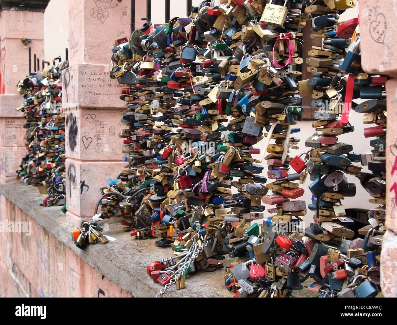 love locks in Prague (a custom by which padlocks are affixed to a bridge by lovers  to symbolize their everlasting - Stock Image