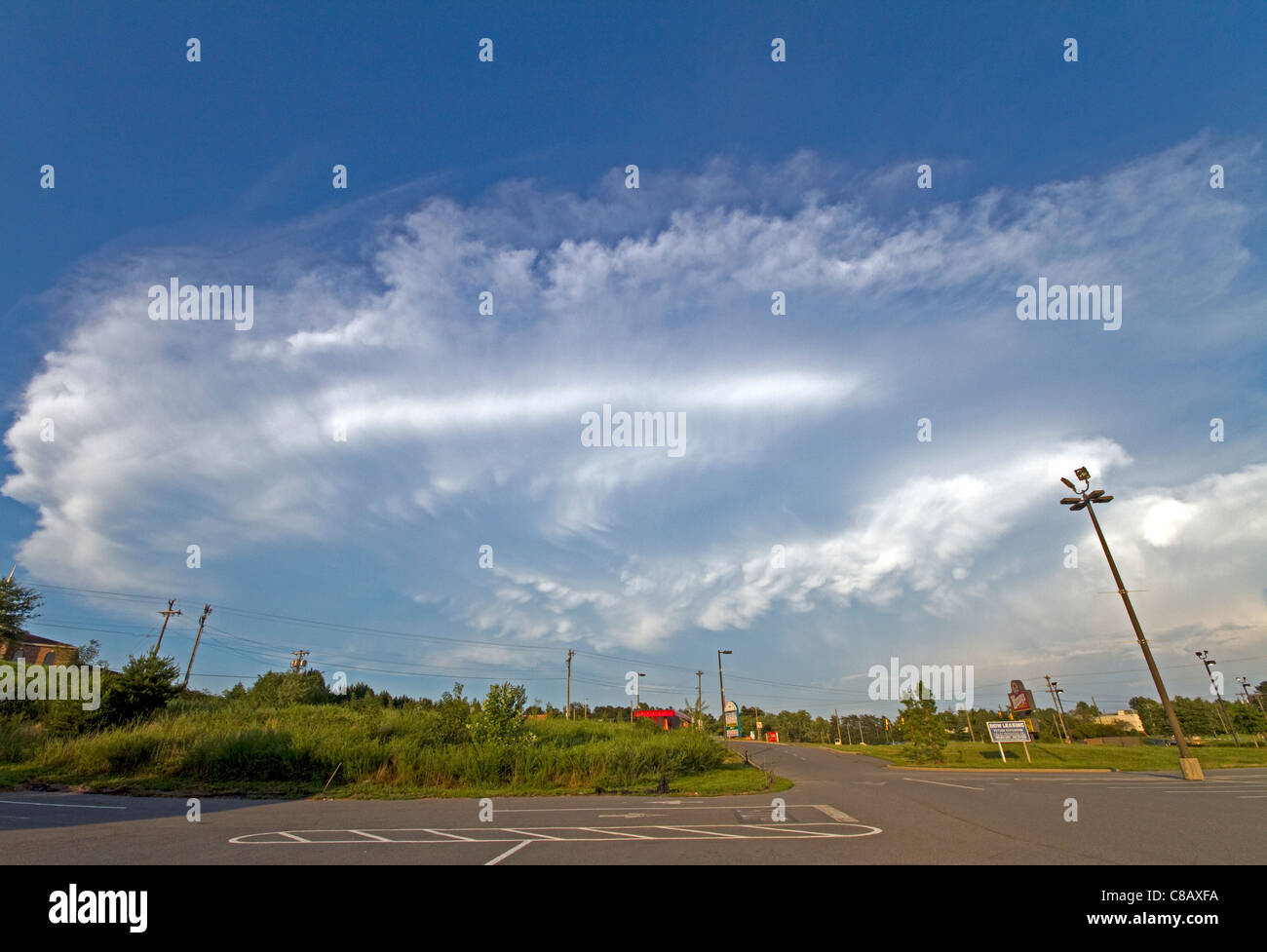 Large Supercell Thunderstorm Over High Point NC August 7th 2011 - Stock Image