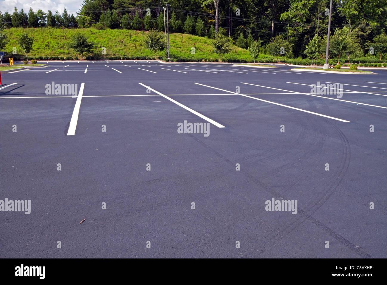 New Parking Lot - Fresh Pavement - Stock Image