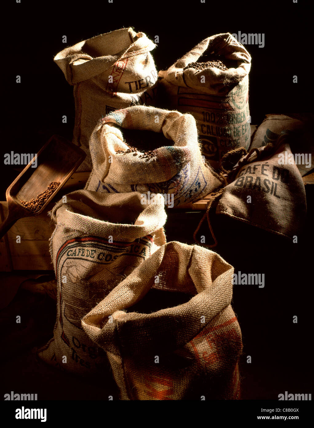 Sacks of coffee beans - Stock Image