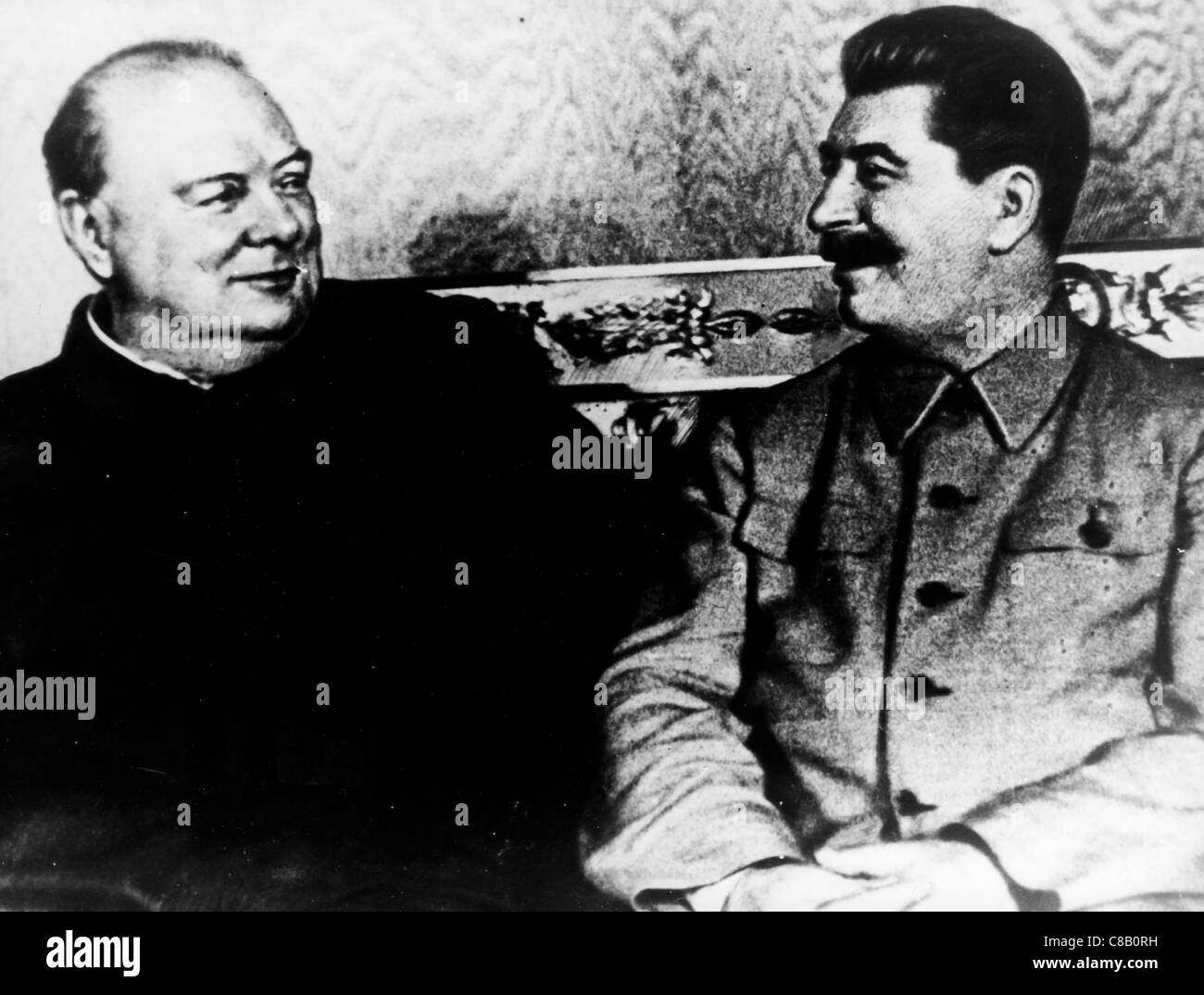 Giuseppe Stalin,Winston Churchill,1945 - Stock Image