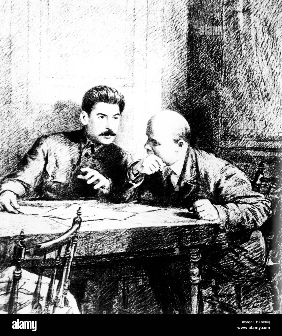 Stalin and Lenin,in 1919 - Stock Image
