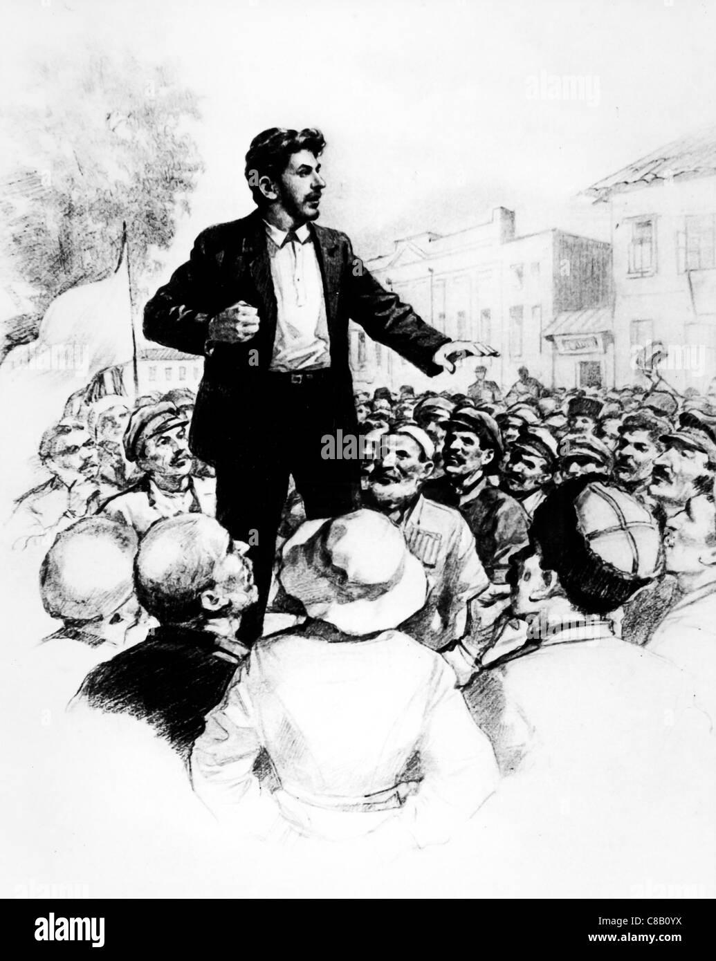 Joseph Stalin speech,1917 - Stock Image