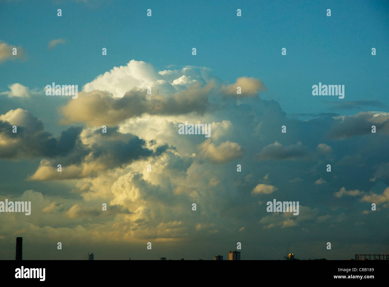 Summer storm clouds over east London - Stock Image