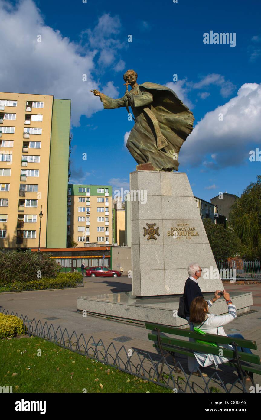 Memorial to Jan Skorupka in front of St Florian church Praga district Warsaw Poland Europe - Stock Image