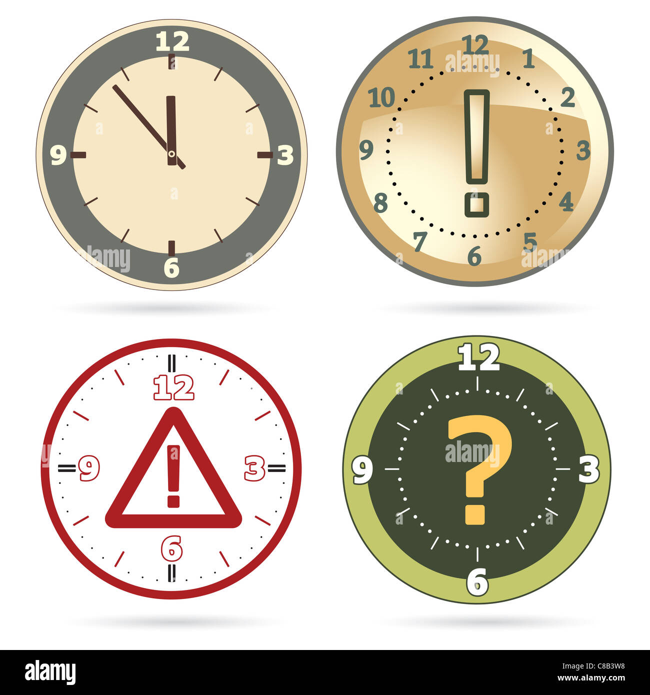 Clock set with question, exclamation marks and warning sign instead of clock hands - Stock Image