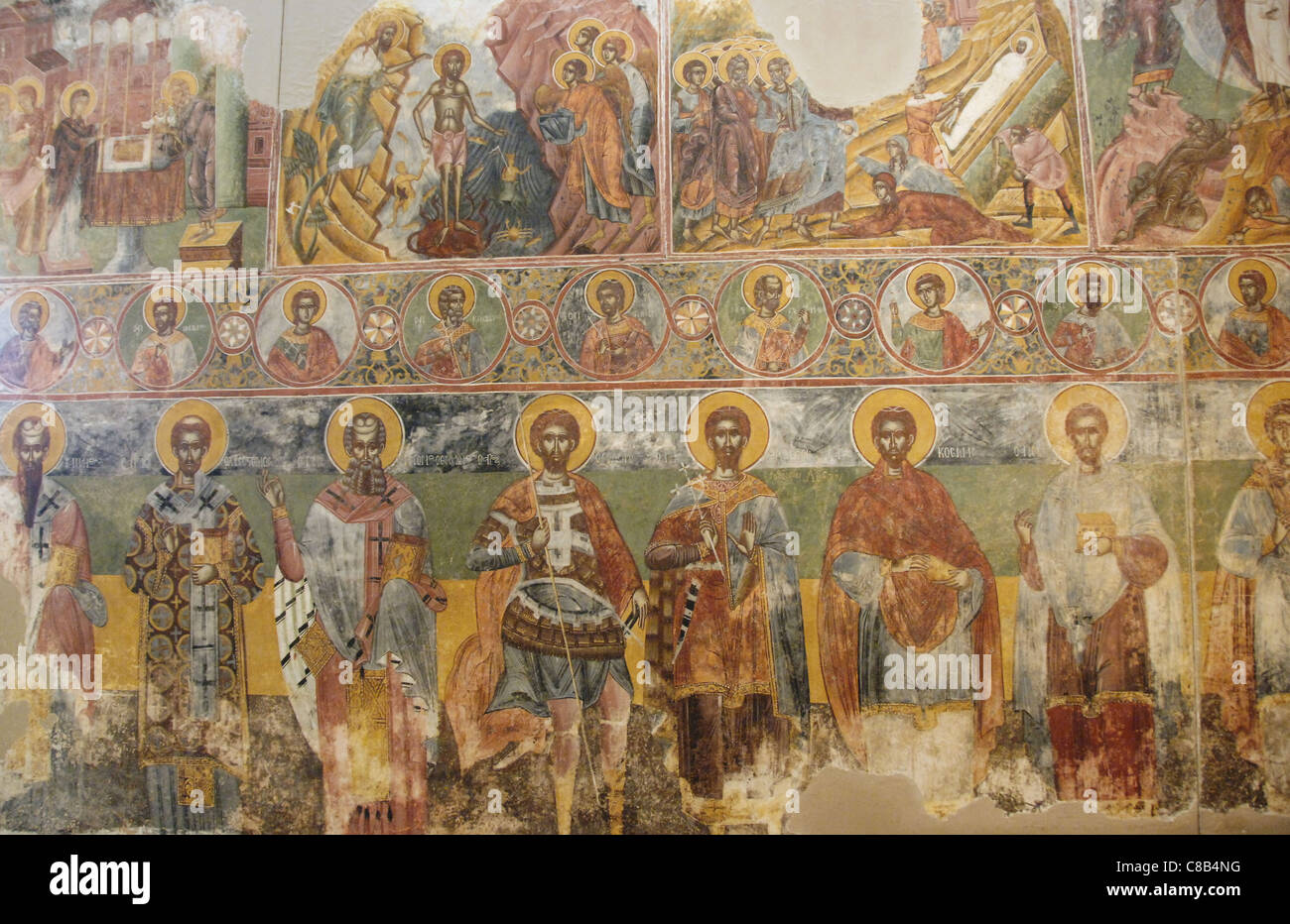 Byzantine Art. Greece. Frescoes from the Monastery of St. Andrew in Mesovouni Volimes. Anonymous. 17th century. - Stock Image