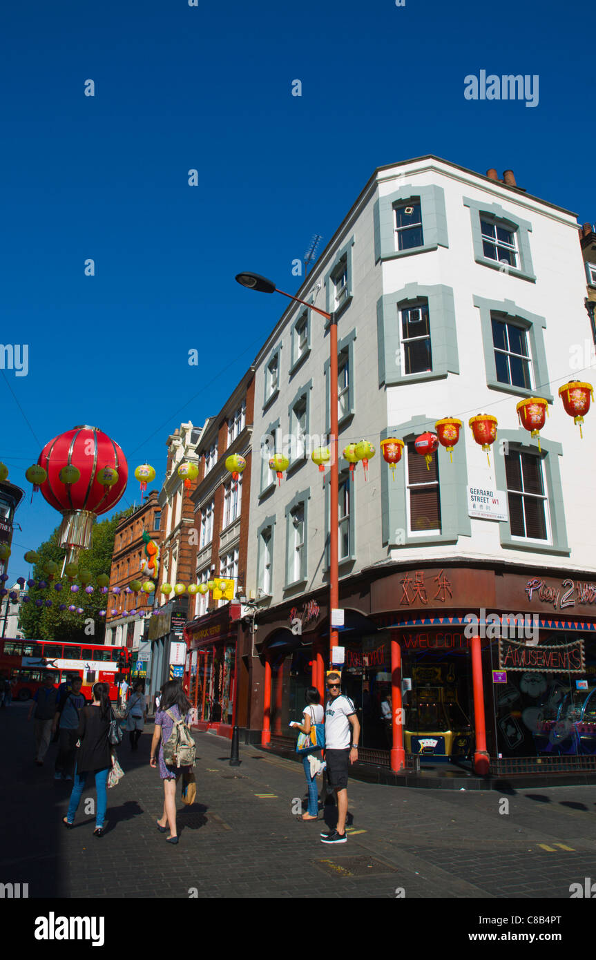 Corner of Wardour and Gerrard streets Chinatown central London England UK Europe - Stock Image