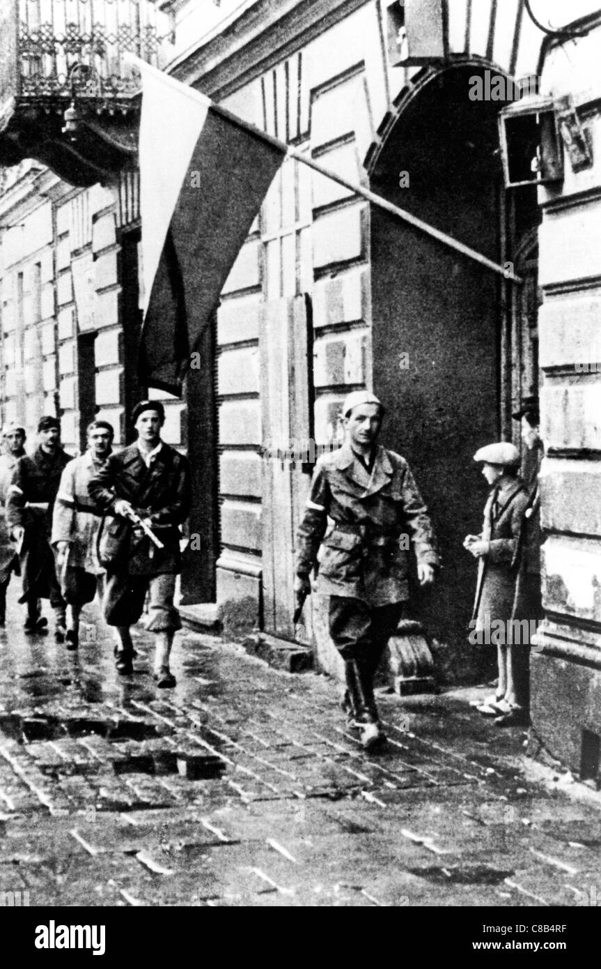 Polish resistance in Warsaw,Poland,1944 Stock Photo
