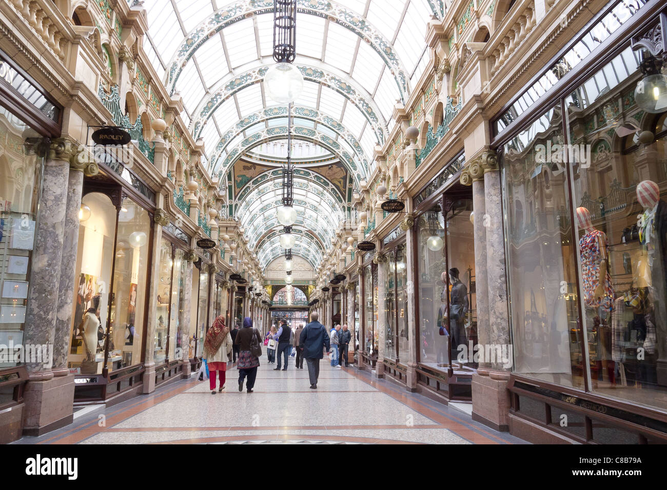 Shopping Arcade, in the Victorian Quarter, in Leeds UK - Stock Image
